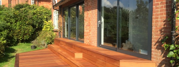 Sliding doors and decking.